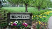 Helmsley sign Thirsk road daffodils