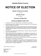 Notice of Election for Helmsley Parish - Town Councillors