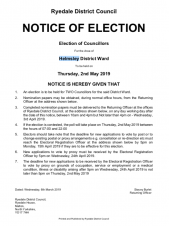 Notice of Election for Helmsley Ward - District Councillors